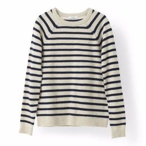 Ganni navy and cream stripe pullover sweater